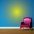 Purple chair in blue minimalist interior — Stock Photo