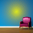 Purple chair in blue minimalist interior — Stock Photo #1043111