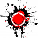 Grunge circular frame with red splashes — Stock Photo #1048175