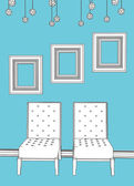 Two chairs with empty frames in blue min — Stock Photo