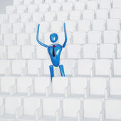 Triumphant person on the stadium — Stock Photo