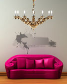 Pink couch with golden chandelier in min — Stock Photo