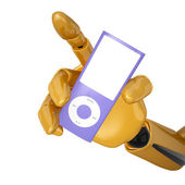 Look to the portable multimedia player — Stock Photo