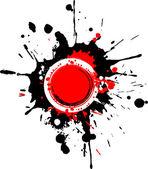 Grunge circular frame with red splashes — Stock Photo