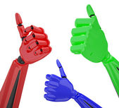 Set of robotic hands with thumb up. — Stock Photo