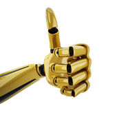 Gold 3d robotic hand with thumb up — Stock Photo
