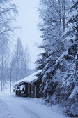 Wooden cottage in winter forest covered by snow — Stock Photo