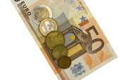 Fifty euro with coins — Stock Photo