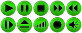 Set of green buttons for music player — Stockfoto