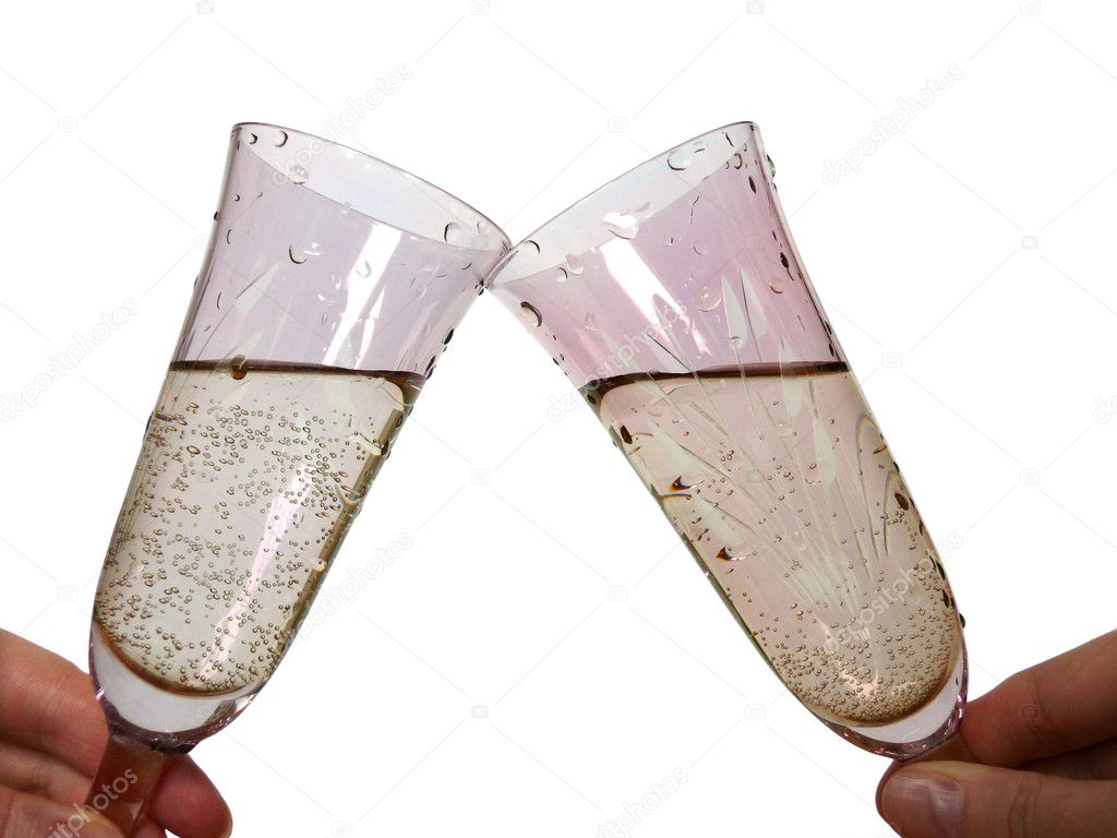 Champagne toast. Two glasses in cheers on white background. — Stock Photo #1023766