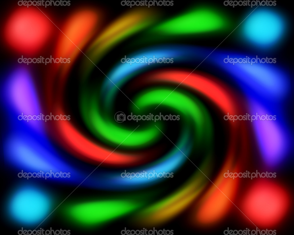 Rainbow abstract twisted lights on black background — Stock Photo #1024107