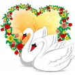 Stock Vector: Romantic swans