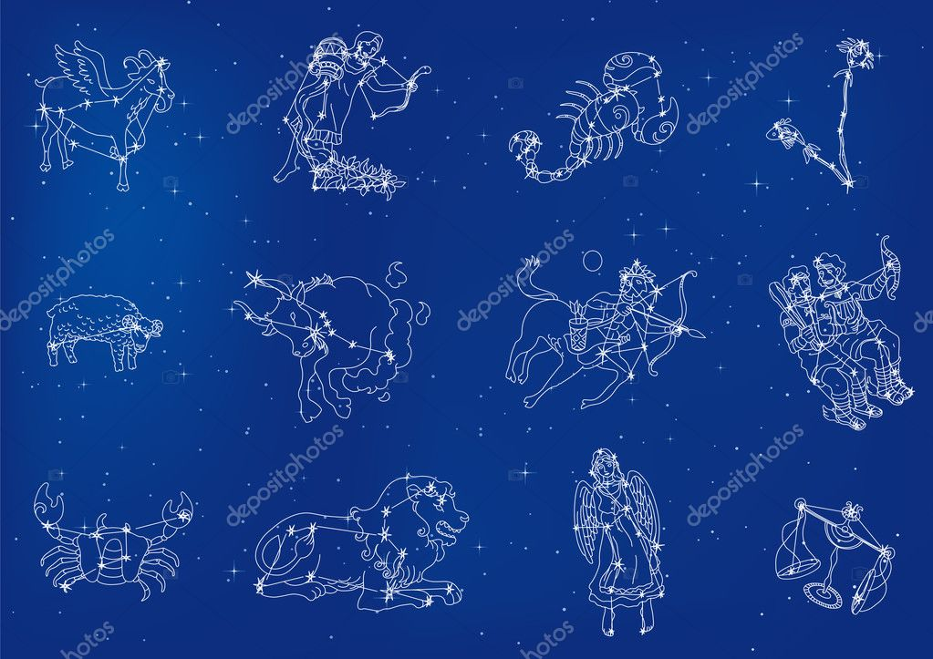 Zodiac signs located in the star sky  Stock Vector #1011997