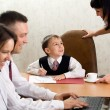 Cute kid in the role of an office manage - Stock Photo