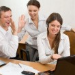 Stock Photo: Young businesspeople with the gestures o