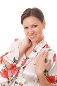 妊娠中の女性が立っている笑顔 — ストック写真