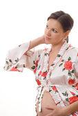 Mulher grávida olha para a frente — Foto Stock