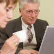 Mature businessman working with laptop — Stock Photo