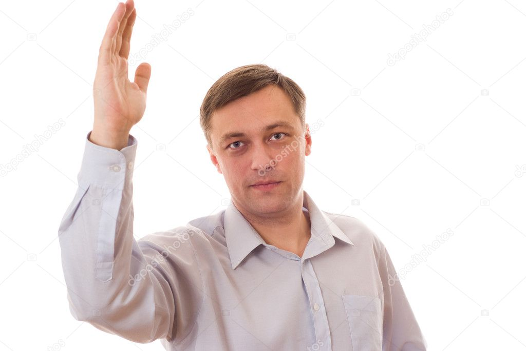 Middle aged man with hands folded on white — Stock Photo #2569635