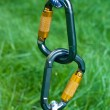 Carabiners on a green grass background — 图库照片