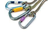 Climbing equipment - carabiners and rope — Stock Photo