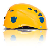 Right side view of orange climbing helme — Stock Photo