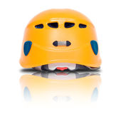 Back view of orange climbing helmet — Stock Photo