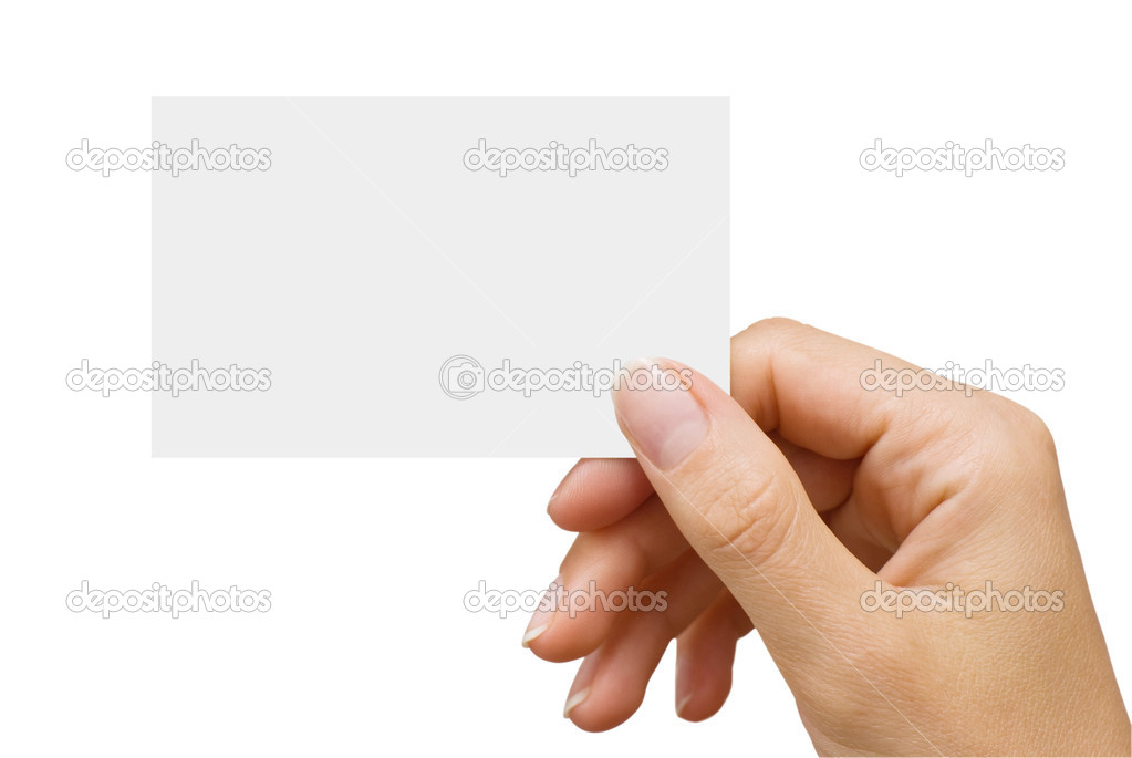 Isolated empty business card in a women's hand — Stock Photo #1029654