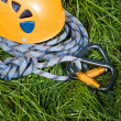 Royalty-Free Stock Photo: Carabiners, helmet and rope