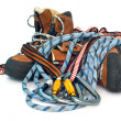 Climbing and hiking gear - carabiners, r - Stock Photo
