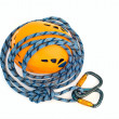 Climbing equipment - carabiners, blue ro - Stock Photo