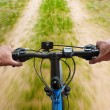 Mounting biking on the dirt road — Stock Photo
