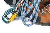 Climbing And Hiking Gear - Carabiners, Rope And Boots — Stock Photo