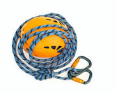 Climbing equipment - carabiners, blue ro — Stock Photo