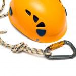 Carabiner and orange helmet — Stock Photo #1216119