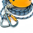 Climbing equipment - carabiners, helmet — Foto Stock