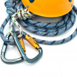 Climbing equipment - carabiners, helmet - Stock Photo