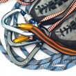 Stock Photo: Carabiners, ropes and climbing shoes