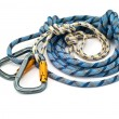 Climbing equipment - carabiners and rope — Foto Stock