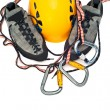 Climbing gear - carabiners, helmet, rope - Stock Photo