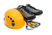 Climbing gear - carabiners, helmet, rope — Stock Photo