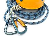Climbing equipment - carabiners, helmet — Stock Photo