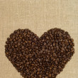 Coffee heart from grains — Stock Photo