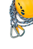 Climbing equipment - caraners, helmet an — Stock Photo