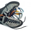 Stock Photo: Carabiners and climbing shoes