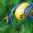 Carabiners, helmet and rope — Stock Photo #2482436