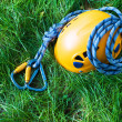 Carabiners, helmet and rope - Stock Photo