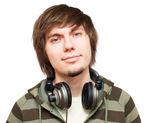 Young men with headphones — Stock Photo