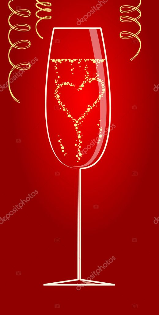 Heart from bubbles in the glass of the champagne  Stock Photo #2600022