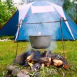 Tent and saucepan on a fire — Stock Photo